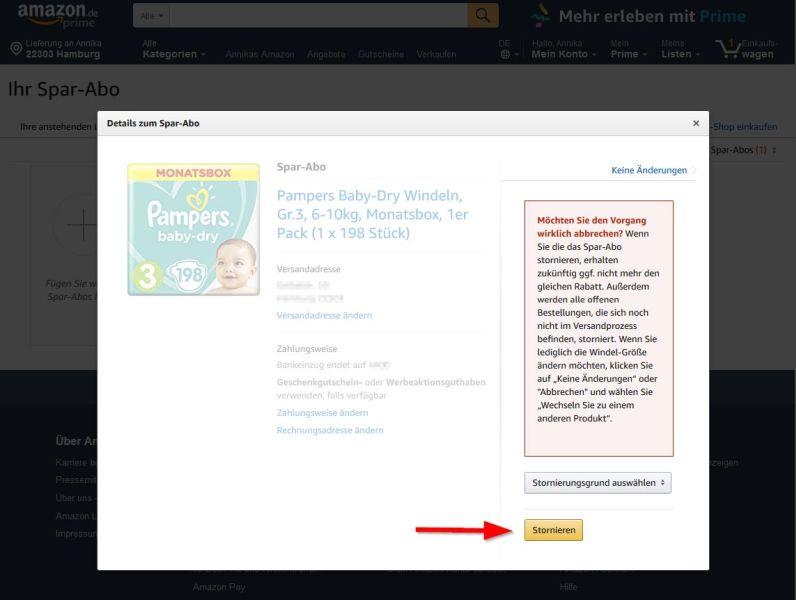 Amazon Sparabo Stornierung abschließen
