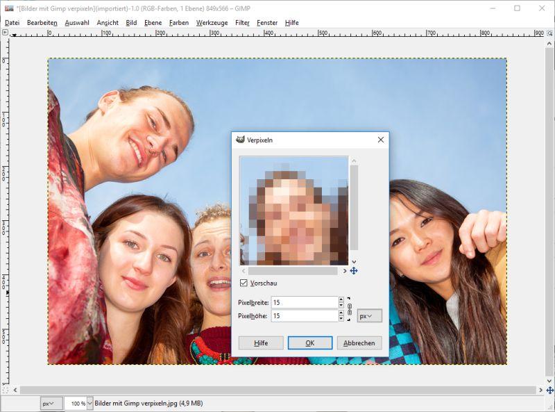 Verpixeln mit Gimp Pixelbreite auswählen