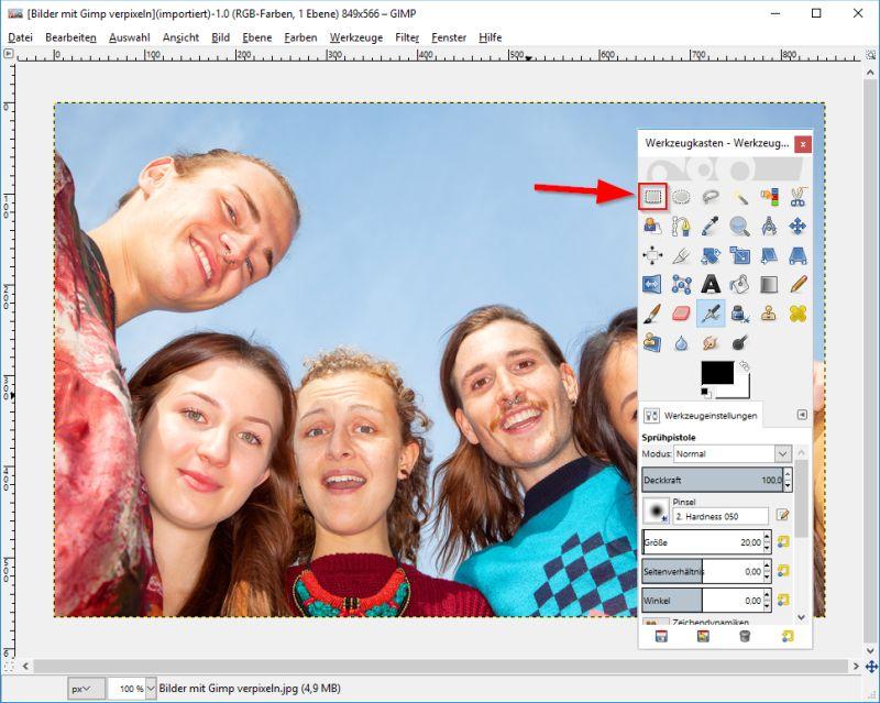 Bild in GIMP öffnen und rechteckige Auswahl