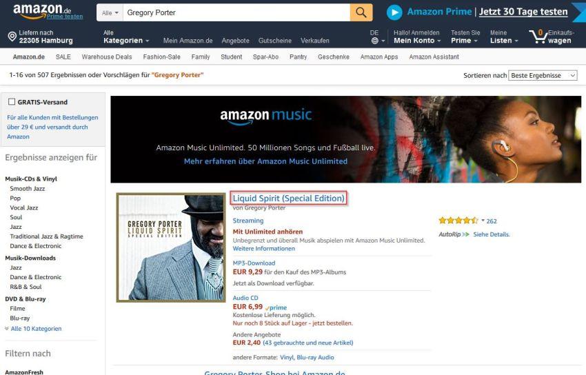 Amazon Kategorieübersicht