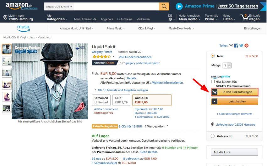 Amazon in den Einkaufswagen