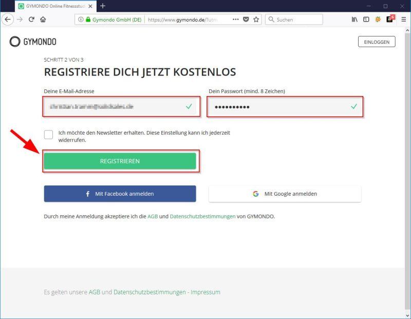 Für kostenlose Testphase registrieren