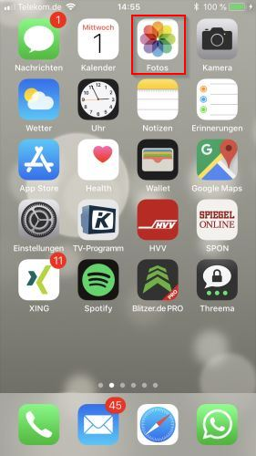 iPhone Foto App starten