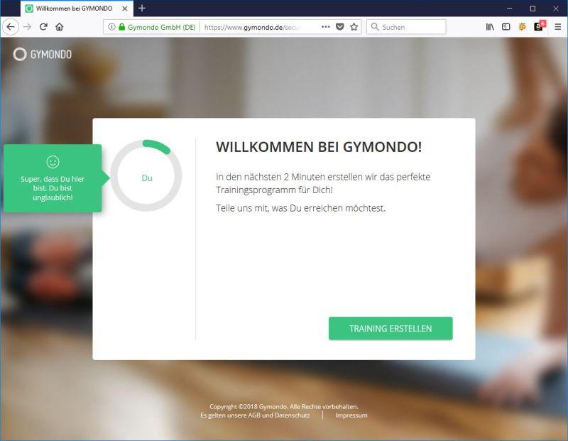 Gymondo Testmitgliedschaft aktiv