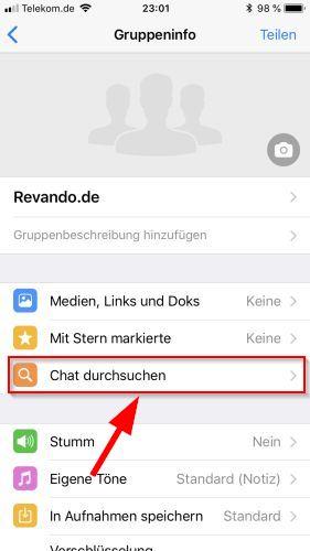WhatsApp Tippe auf Chat durchsuchen