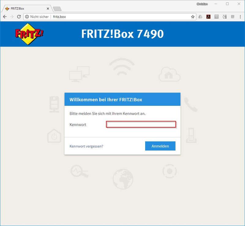 fritz.box einloggen