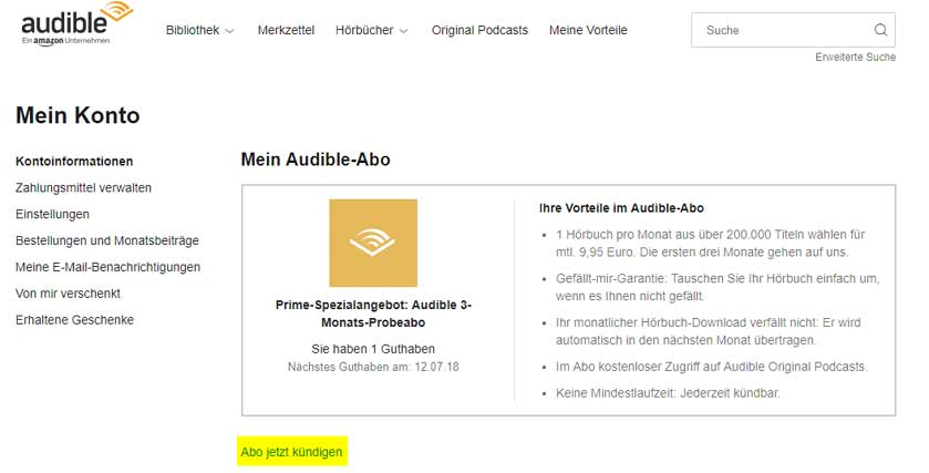Audible-kündigen