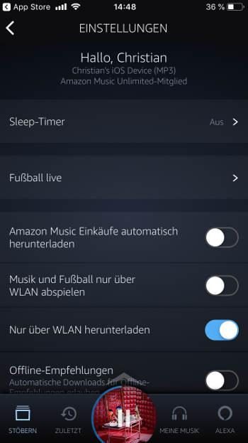 Einstellungen Amazon Music Unlimited