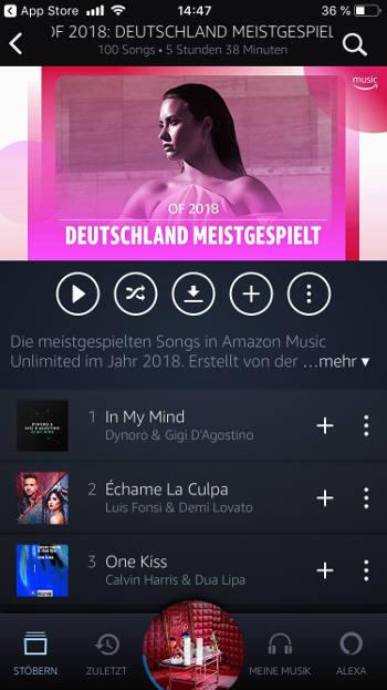 Song abspielen bei Amazon Music Unlimited